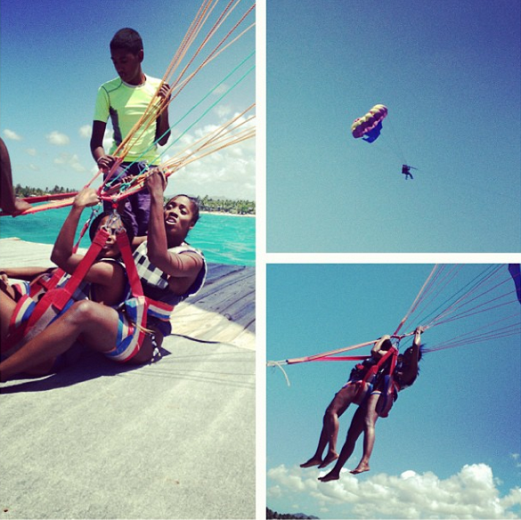 Photo: Tiwa Savage goes parasailing in Mauritius