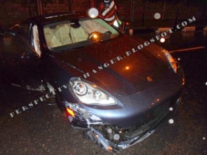 NEWS: Wizkid Involved In A Motor Accident In His New Porsche Panamera